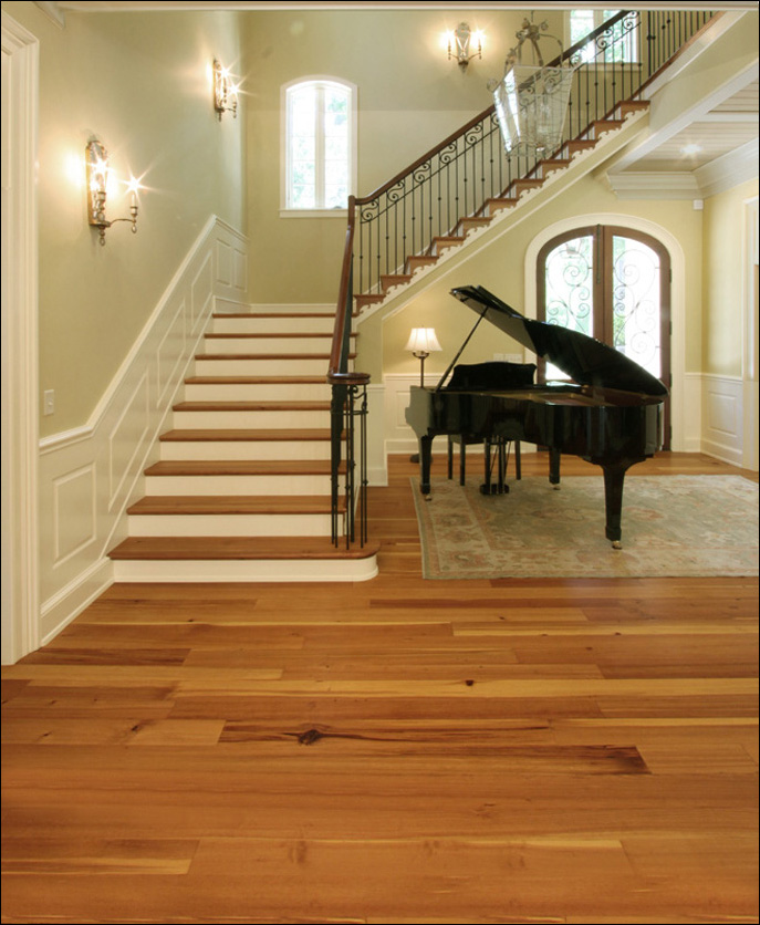 Antique Reclaimed Heart Pine Vertical Grain Flooring And Matching Stair Treads In A New Southern Home