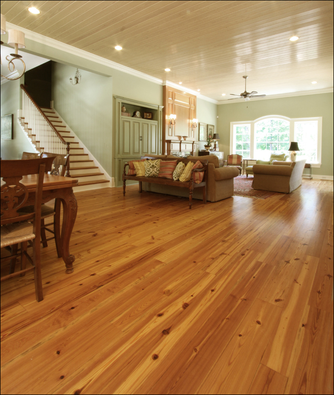 Antique Reclaimed Heart Pine Select grade flooring in a new Southern home. - Southern Wood Floors: Antique Reclaimed Heart Pine Wide Plank