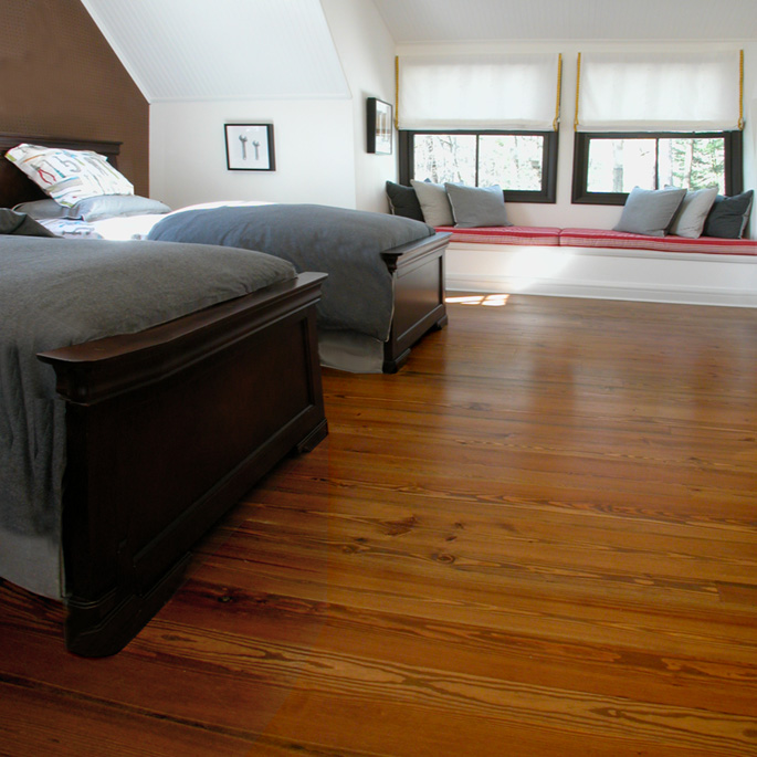 Heart Pine Wide Plank solid wood flooring with a dark English Chestnut  stain. - Heart Pine Wide Plank Solid Wood Flooring: Southern Wood Floors